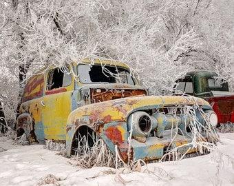 Vintage, Mercury Yellow Panel Van,