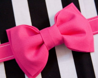 Electric Neon Pink Bow Tie – You Choose Size