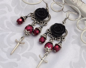 Vampiress - Silver and Burgundy Gothic Chandelier Earrings - VAMPE - Free US Shipping