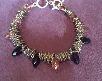 Handmade silver Swarovski crystal toggle bracelet