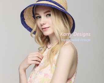 Hit-color  fashion raffia crochet hat lady hat sun hat summer straw hat floopy women hat