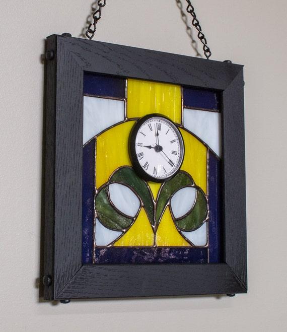 Wall Clock Art Nouveau : Wall clock art nouveau purple yellow green by kolorwavesglass