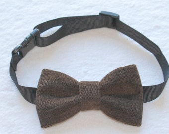 Dark Brown textured bowtie for babies, boys, kids, men and also pets!