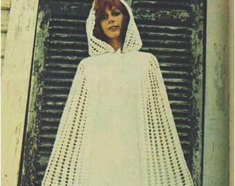 Crochet Cloack Pattern Vintage 70s Crochet Cape Pattern Crochet Wedding Bridal Veil Pattern Boho Bridal Cape Hooded Jacket Bohemian Clothing