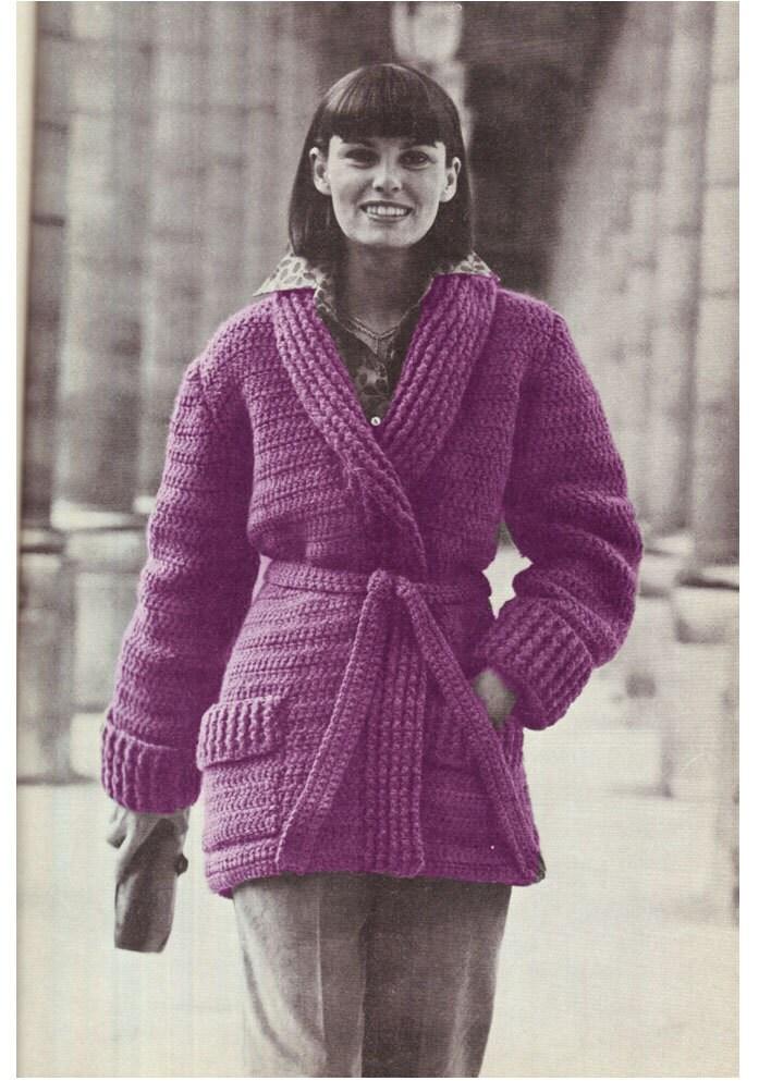 Crochet Pattern Jacket Cardigan : CROCHET JACKET PATTERN Vintage Pattern 70s Crochet Cardigan