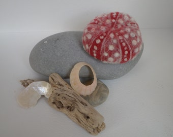 Red Sea Urchin shell felt sculpture