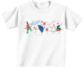 TShirt Alice In Wonderland Childs Top Clothing Illustrated Story Book Girls Tshirt