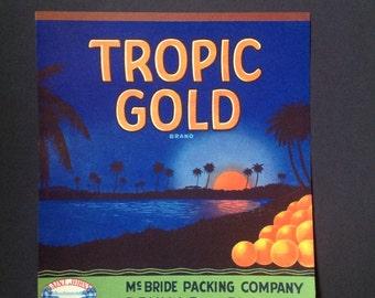 Vintage Advertising Label 1935  Florida Orange Crate