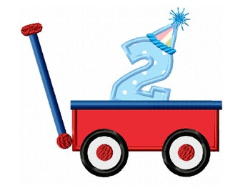 2nd Birthday Wagon  Applique Machine Embroidery DESIGN NO. 226