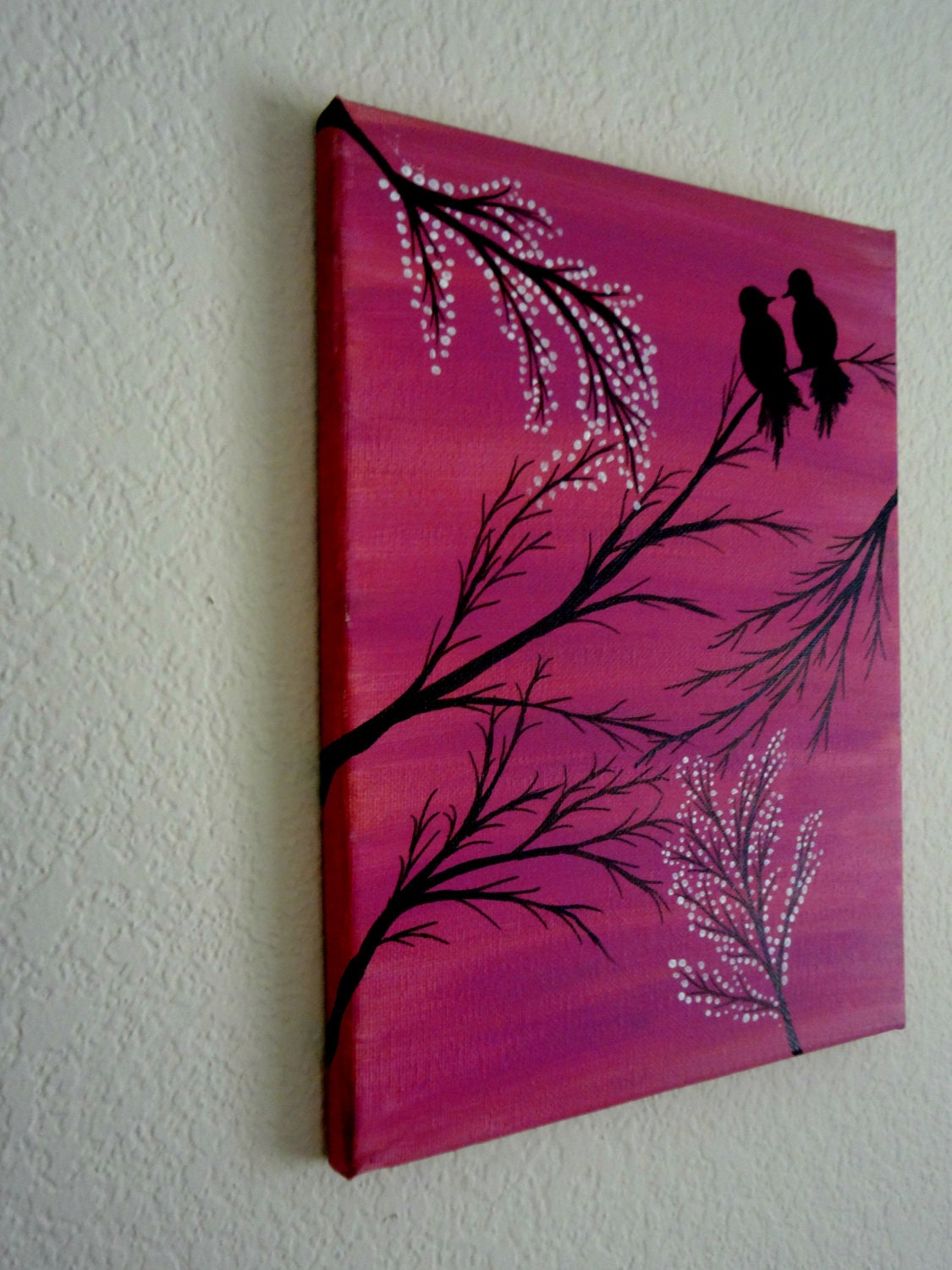 Love Birds Painting Acrylic Painting Canvas Art Pink By