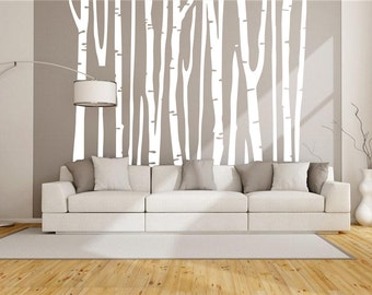Tree decal-white tree wall decal-bare tree decal for House-winter white tree wall sticker -vinal wall murals-removable large tree decal28808