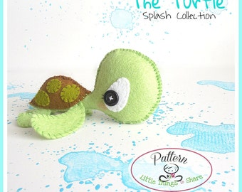 The Turtle PDF pattern-Sea animals toy-DIY-Nursery decor-Instant download-Baby's mobile toy-Cute Sea turtle toy-Felt turtle