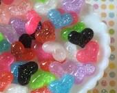 Glitter Heart Cabochon Mix - 8 pcs