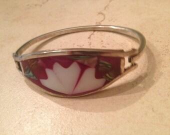 Vintage Silver Bracelet Fuchsia Pink Inlay Boho Jewelry
