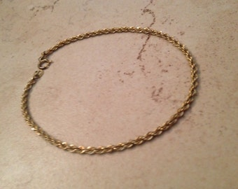 Vintage Sterling Silver Bracelet Gold Wash Rope Jewelry