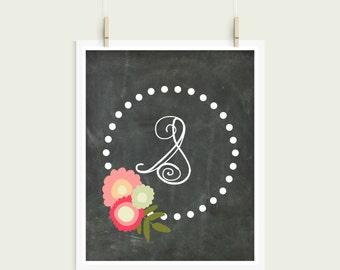 Letter S Chalkboard Polka Dot Floral Frame Curly Font Initial Monogram Instant Art
