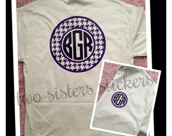 Vinyl Circle Monogram Short Sleeve Shirt with Decorative Border - Arrow, Polka Dots, Stripes, Houndstooth