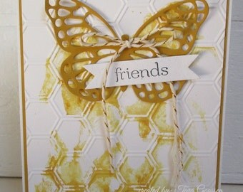 Handmade Greeting Card Honeycomb Butterfly Friends