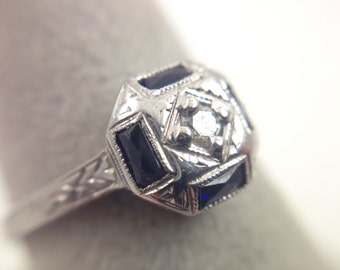 0.05ct Antique Diamond / Sapphire 18k White Gold Band with Engraving-09977646