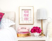 White Nightstand with Gold Frame, Pink Phone & Hot Pink Roses / Portrait / Styled Stock Photography / Product Mockup / High Res File #522