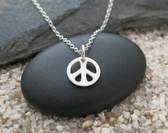 Peace Sign Necklace, Sterling Silver Peace Sign Charm, Peace Jewelry
