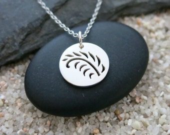 Silver Fern Necklace, Sterling Silver Fern Charm, Nature Jewelry