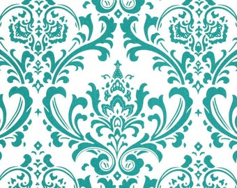 Blue Valance. Turquoise Valance. Turquoise Damask VALANCE.Matching  PILLOW  cover available.