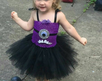 Evil Purple Minion Costume for Babies and Toddlers - Purple Minion Tutu Dress - Purple Minion Dress - Purple Minion Costume - Evil Minion