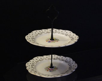 Two tier cake stand, vintage china cake stand, jewellery stand, gift, tea parties, wedding decor, shabby chic jewellery storage.