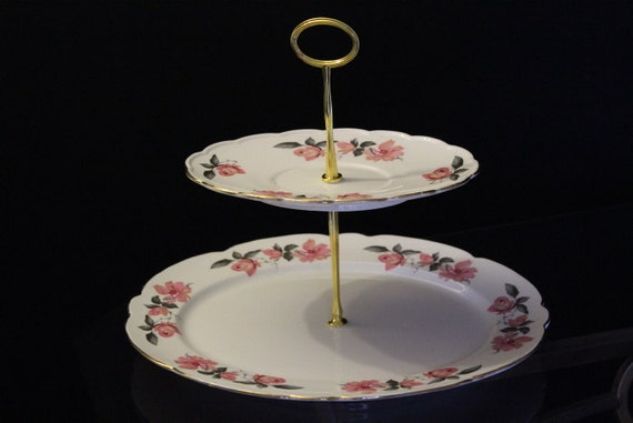Cake Stand Home Decor : Two tier cake stand. Vintage home decor jewellery stand