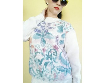 Vintage 90's Pastel Floral Sweater - Medium Large 1990's Flower Pullover - Pastel Sweater