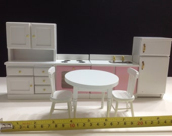 Dollhouse Miniature Kitchen Pink/White Wood Furniture Set