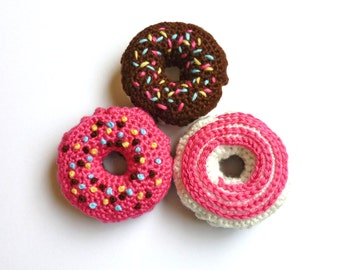 Baby or Child's Toy, Handmade, Crochet, Donut, Three Choices
