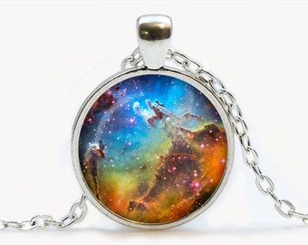 The Eagle Nebula Glass pendant.  Galaxy Cosmos necklace. Space, universe jewelry, birthday gift
