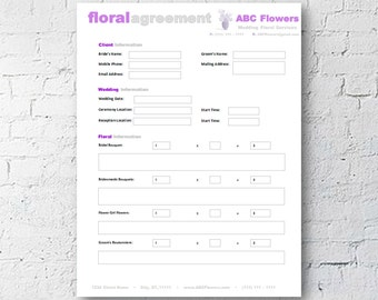 Floral Shop Bridal Agreement Contract Template | Editable Printable | Microsoft Word | Mac + PC | Instant Download