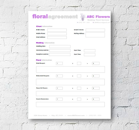 Floral Shop Bridal Agreement Contract Template Editable