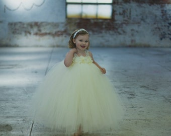 Girl's Ivory Lace Flower Girl Tutu Dress