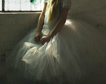 Girl's Cream/Off White Flower Girl Tutu Skirt