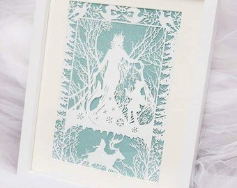 Snow queen framed paper cut