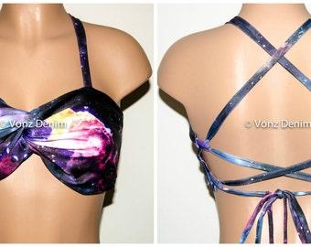 PADDED Galaxy Twisted Criss-Cross Bikini Top, Adjustable Lace Up Back Bandeau, Spandex Swimwear Bandeau Bikini