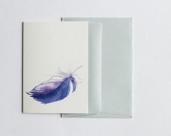 Blank greetings card. Purple feather. Fine art. Premium paper. Luxury stationary. Stationary. Birthday card. Correspondence card.