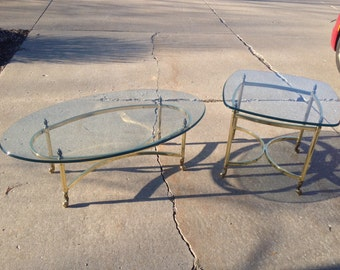 Hollywood Regency Mid-Century Brass LaBarge Style Coffee & End Table w/beveled Glass