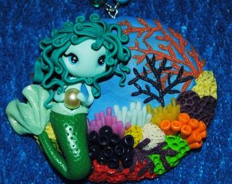 Polymer clay Sea Mermaid necklace