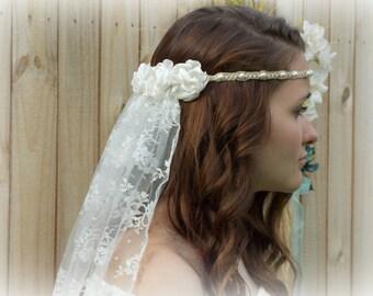 Ivory Wedding Veil, Headband Handmade of Hemp, Pearls & Satin Flowers, Hippie Brides, Bohemian Wedding, Bridal Head Piece, Customize w Color