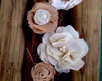 Wedding decorations, wedding cake toppers, burlap flowers