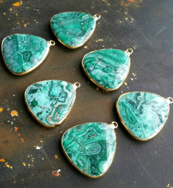 Green Crazy Lace Agate pendant. 40x40mm 22k gold by ...
