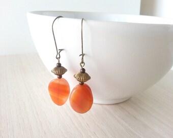 Bronze cluster earrings with brazilian agate, Gemstone earrings, Bronze earrings with natural stone, Agate earrings, Boho earrings gemstone