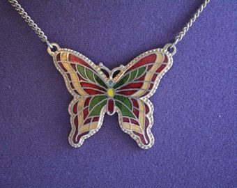 "Vintage Sarah Coventry Colorful Enamel ""Fly Away"" Butterfly Choker Necklace"