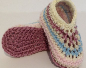 Crochet Baby Galilee Booties - cream, blue, pink. Fits 6 - 12 months
