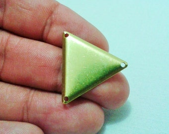 25 Pcs Raw Brass 25 x 25 mm Triangle Findings - Raw Brass Triangle Connector -3 Hole
